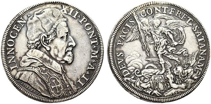 La piastra papale del 1692 con san Michele che treafigge Satana