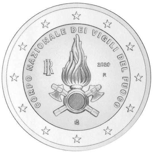 """Lineare ed """"istituzionale"""" la moneta da 2 euro 2020 per gli 80 anni del Corpo Nazionale dei Vigili del Fuoco"""