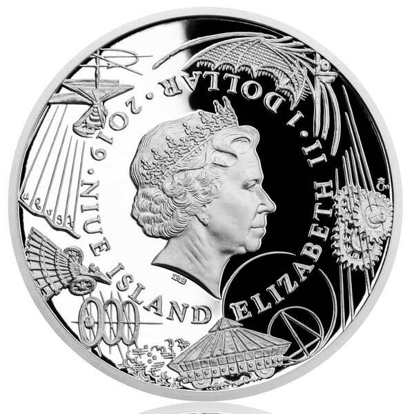 Elisabetta II circondata dalle invenzioni di Leonardo sulla faccia comune delle quattro monete di Niue