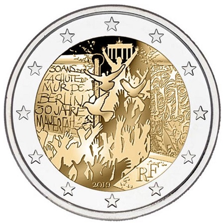 La versione francese dei 2 euro con iscrizioni bilingue