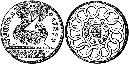 """Disegno del """"Fugio cent"""" con data 1787, la meridiana e il simbolo delle tredici Colonie originarie"""