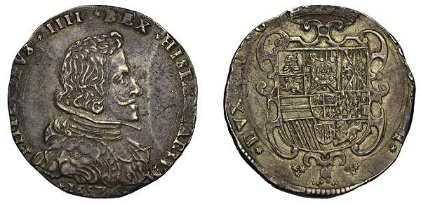 Tra le monete milanesi di Filippo IV con effigie c'è questo filippo in argento da 100 soldi del 1657