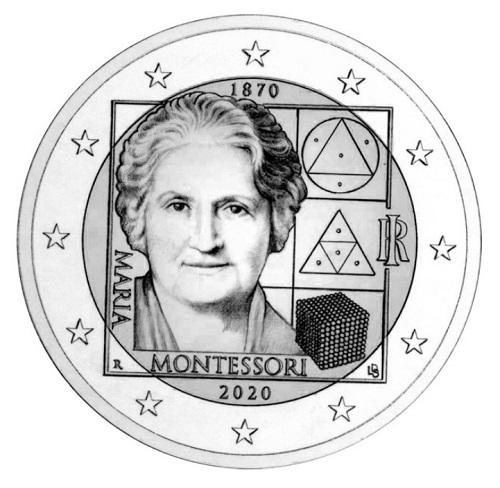 Il volto di Maria Montessori e alcuni dei tanti frutti della sua creatività pedagogica e scientifica sul bozzetto della seconda 2 euro italiana in programma il prossimo anno