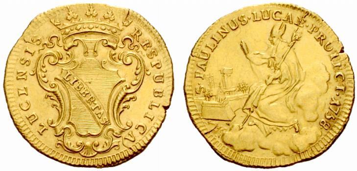 Unoi dei rarissimi esemplari di doppia lucchese del san Paolino (1758) passati sul mercato