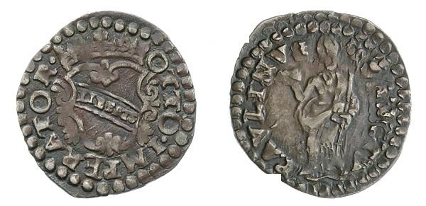 Quattrino lucchese del XVII secolo con l'effigie del patrono al rovescio