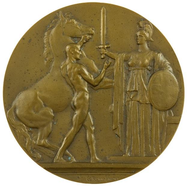 Una possente composizione allegorica al dritto della medaglia di Romagnoli che celebra l'entrata del Regno d'Italia nel Primo conflitto mondiale