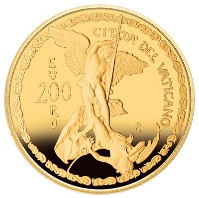 Da un'opera d'arte alla numismatica d'arte: ecco il ritorno di san Michele sui 200 euro firmati Mariangela Crisciotti