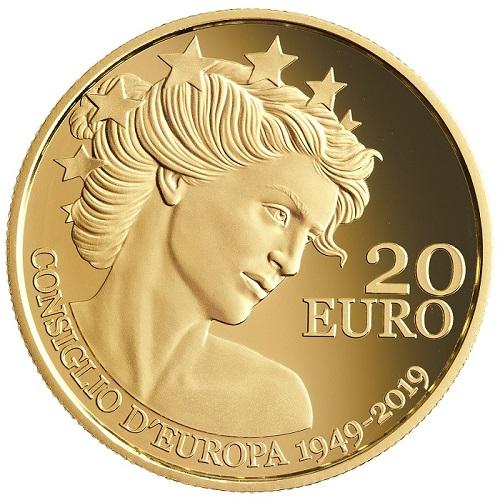 """La bella """"Libertas"""" al rovescio della moneta da 20 euro del Titano"""