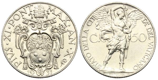 L'arcangelo sui 50 centesimi vaticani del 1931