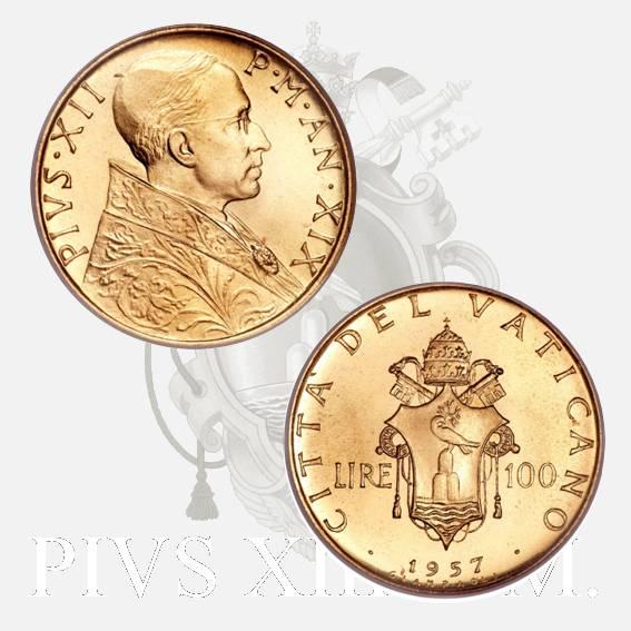 Moneta da 100 lire in oro di papa Pio XII Pacelli anno 1957-XIX