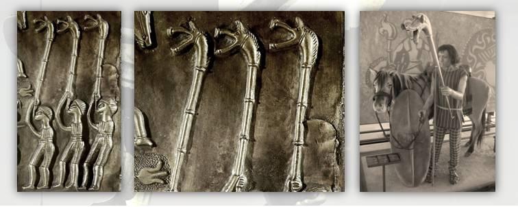 """1. Suonatori di Carnyx raffigurati nel Calderone celtico di Gundestrup, I° secolo a.C. circa, Museo Nazionale Danese di Copenaghen; 2. Dumnorix, letteralmente in celtico """"re del mondo"""", capo della tribù degli Edui nel I secolo a.C. e raffigurato col carnyx al Museo della civiltà celtica di Bibracte in Francia"""