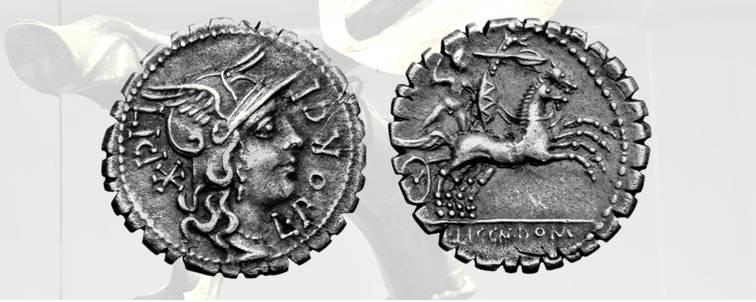 12. Porcius Licinius, denario romano serrato della zecca di Narbo Martius, 118 a.C., Craw. 282/5. D/ Testa elmata di Roma. R/ Guerriero gallico nudo su biga con scudo ovale, lancia e carnyx