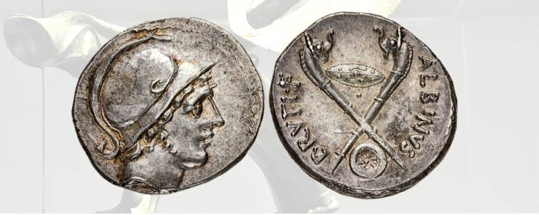 9. Brutus Albinus, denario romano, 48 a.C., Craw. 450/1a. D/ Ritratto del giovane Marte elmato. R/ Carnyx incrociati con interposti lo scudo ovale celtico e la ruota del carro da guerra