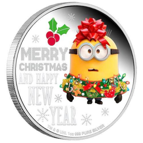 Bob dei Minions addobbato a festa sulla moneta di Natale 2019 emessa da Niue