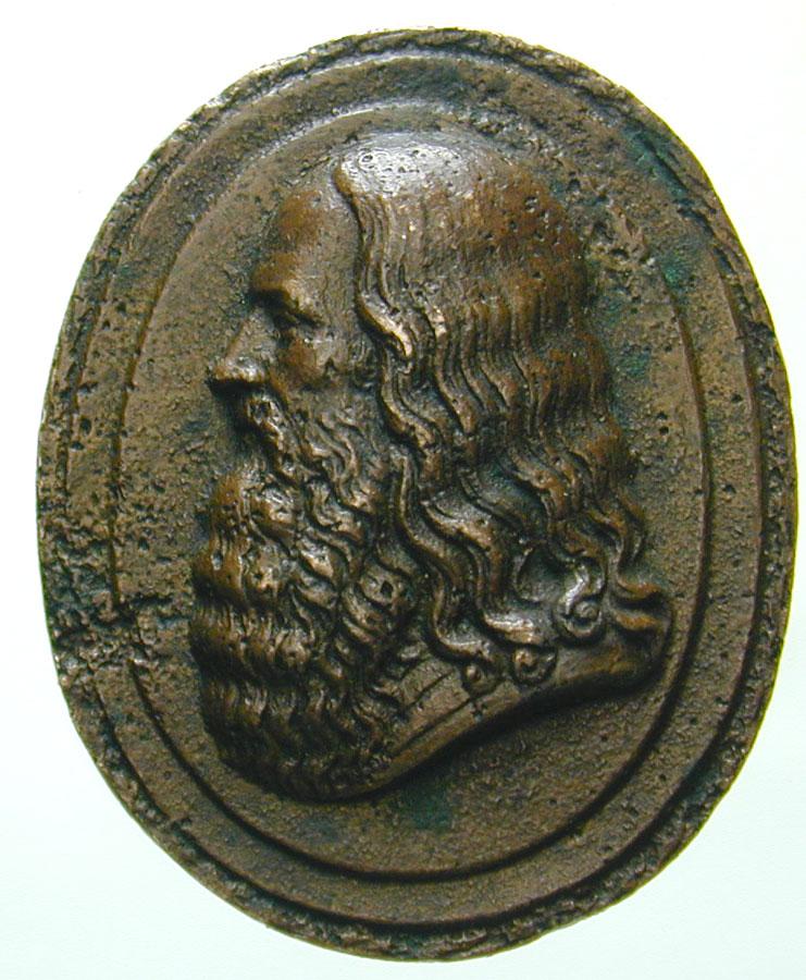 La suggestiva placchetta fusa in bronzo, di ignoto incisore, che rappresenterebbe il vero volto di Leonardo da Vinci