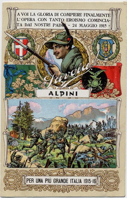 """Una delle innumerevoli cartoline dedicate alla """"penne nere"""" alla cui Adunata 2020 San Marino dedicherà una moneta da 10 euro di nuovissima ispirazione"""