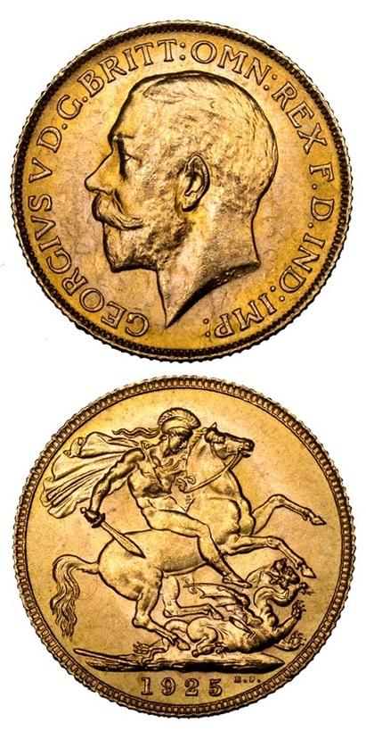 Una delle sterline di Giorgio V datata 1925 e coniata dalla Royal Mint appositamente per la RAF e il SOE