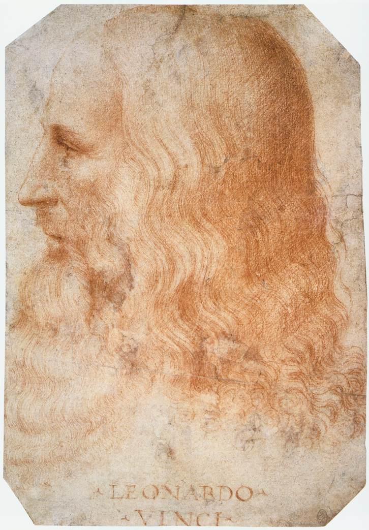 Il ritratto di Leonardo realizzato da Francesco Melzi e oggi conservato nelle collezioni reali di Elisabetta II
