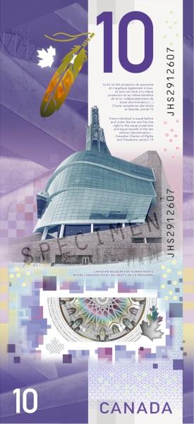 Al retro del biglietto il Museo canadese per i diritti umani di Winnipeg