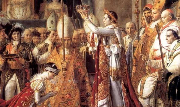 """L'incornoazione di Napoleone Bonaparte dipinta da David: si noti, in disparte, il pontefice relegato in un ruolo quasi da """"comparsa"""""""