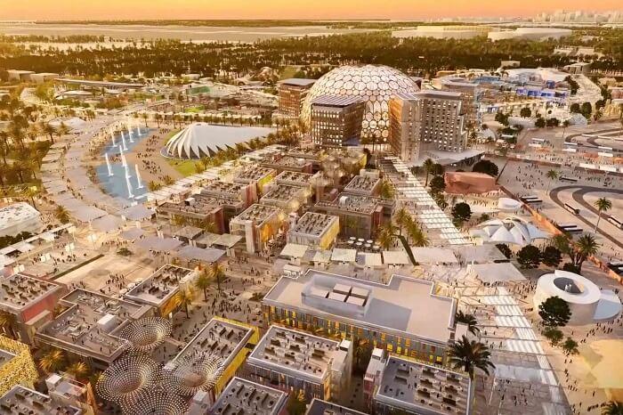 Così apparirà il mastodontico quartiere Expo a Dubai il prossimo anno, in occasione dell'Expo che ha ricevuto il testimone da Milano 2015