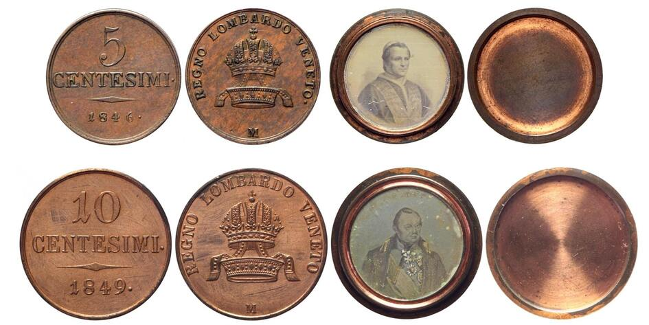 Monete del Lombardo Veneto trasformate in scatole con ritratti di propaganda di papa Pio IX e del maresiallo Radetzky
