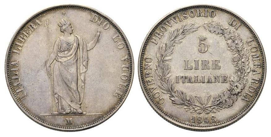 Le 5 lire del Governo Provvisorio di Lombardia (1848) furono usate anche come astucci per portare messaggi segreti e dispacci