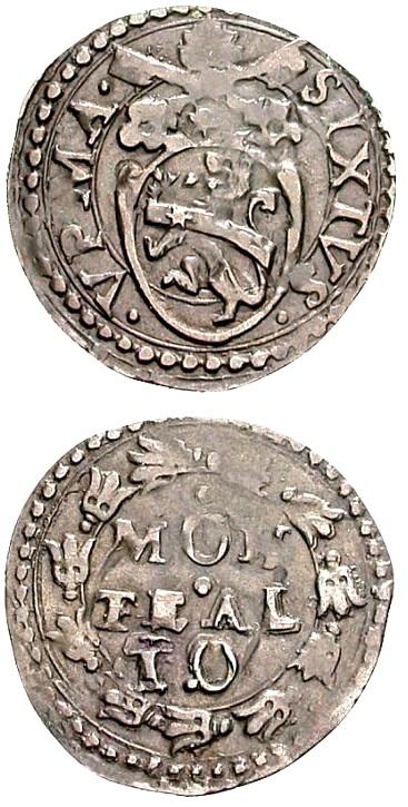 Quattrino in mistura della zecca di Montalto. Al dritto stemma di Sisto V, al rovescio il nome della città