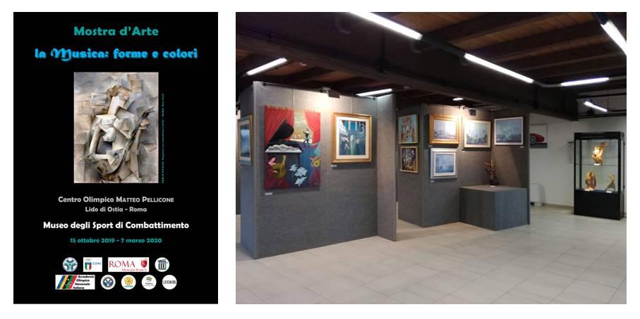 """Il manifesto della mostra d'arte """"La musica: forme e colori"""" e uno scorcio della mostra collettiva al primo piano del Museo"""