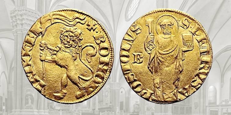 Fig. 3 Bolognino d'oro, 1380, CHI 63. D/ BONONIA DOCET, nel campo leone rampante vessillifero; R/ S PETRVS APOSTOLVS, santo stante con chiave e libro