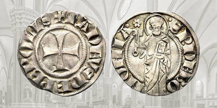 Fig. 4 Pepolese d'argento, 1337-1347, CHI 55. D/ TADEVS DE PEPOLIS, nel campo croce patente; R/ S P DE BONONIA, santo stante con chiave e libro