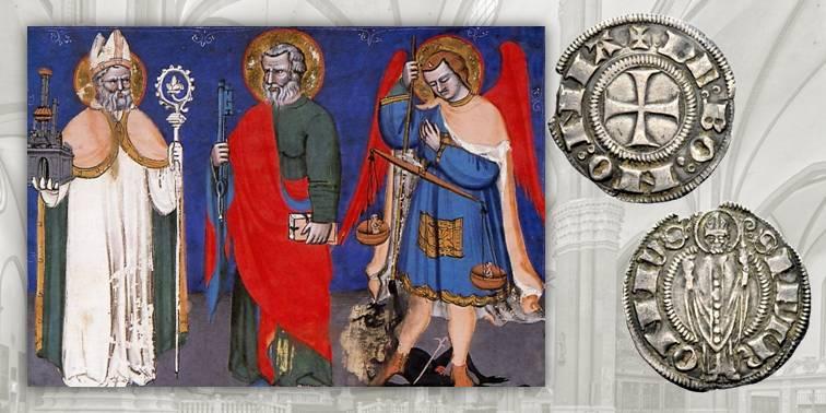 """Fig. 5 San Petronio, a sinistra, e san Pietro, al centro, sembrano scambiarsi un intenso sguardo di sfida. A destra san Michele arcangelo. Miniatura tratta dagli """"Statuti dell'Arte della Seta"""", decorati nel 1390 circa dal maestro Jacopo di Paolo (Archivio di Stato di Bologna). Fig. 6 Grosso d'argento di tipo agontano, 1380-1401, CHI 70. D/ DE BONONIA, nel campo croce patente; R/ S PETRONIVS, santo stante e benedicente, con pastorale"""