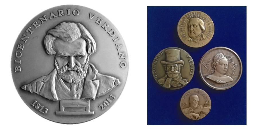 Roberta Rubegni, Bicentenario Verdiano, bronzo coniato e argentato, mm 70 (D/); Giuseppe Merighi (per Bertozzi Medaglie)