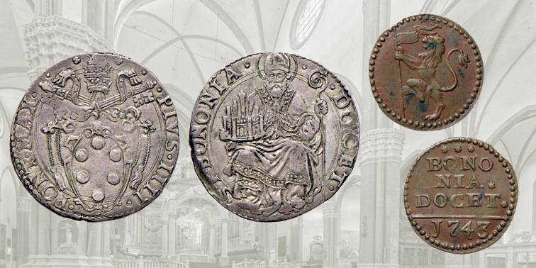 Fig. 9 Lira d'argento a nome di Papa Pio IV, 1559-1565, MUN 69. D/ PIVS IIII PONT MAX, nel campo stemma ovale in cornice; R/ S P BONONIA DOCET, nel campo san Petronio in trono regge la città sul palmo della mano destra. Fig. 10 Quattrino in rame a nome di papa Benedetto XIV, 1743, MUN 237L. D/ Leone vessillifero rampante a sinistra; R/ BONONIA DOCET, all'esergo: 1743