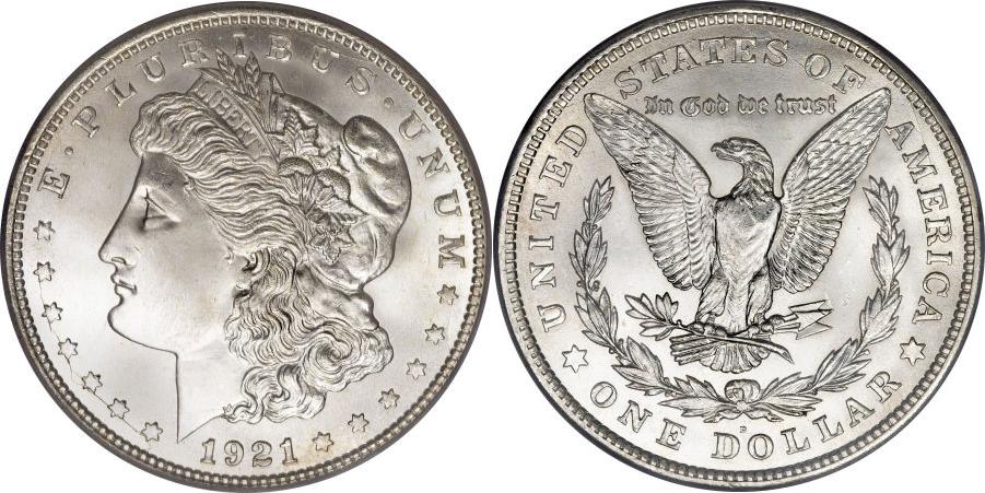 Un bellissimo e rarissimo dollaro del tradizionale tipo Morgan coniato nel 1921, a guerra finita (argento 900 millesimi, mm 38,1 per gr 26,73)