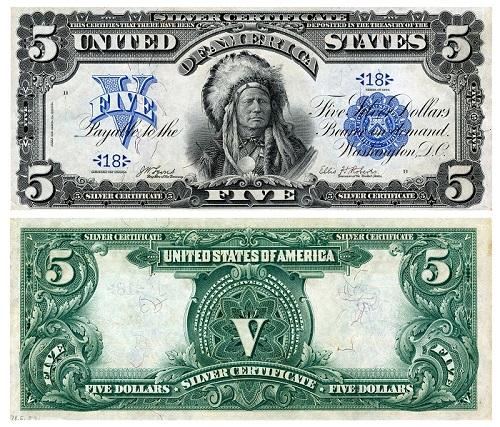 """""""Silver certificate"""", ossia banconota convertibile in argento del valore di 5 dollari emessa negli Stati Uniti nel 1899 e raffigurante al fronte il ritratto di un capo sioux (mm 189 x 79)"""