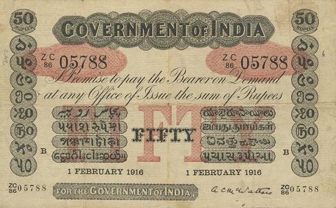 Certificato cartaceo (uniface) convertibile in argento, del valore nominale di 50 rupie, stampato nel 1916 dal Governo coloniale britannico per l'India (mm 180 x 110)
