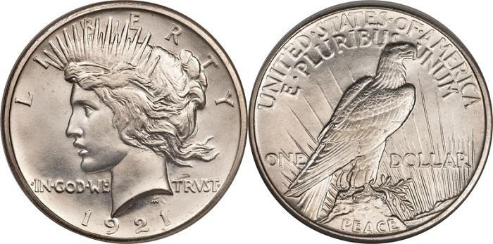 Terminato il conflitto, gli Stati Uniti emettono il dollaro chiamato Peace, effetto dell'applicazione del Pittman Act a sostegno delle miniere nazionali (argento 900 millesimi, mm 38,1 per gr 26,73)