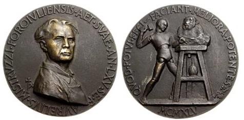 Autoritratto del maestro Aurelio Mistruzzi in una medaglia in bronzo di grande modulo risalente al 1945 e realizzata per il suo 65° compleanno
