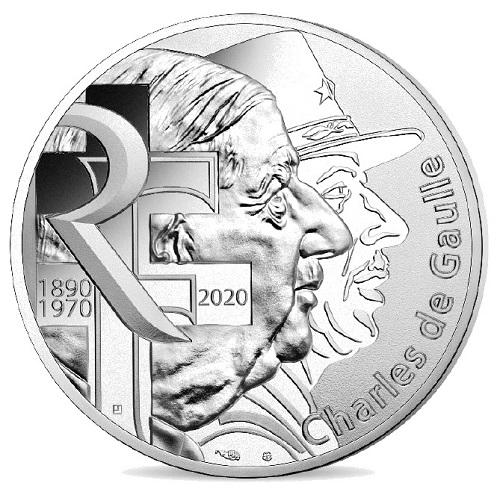 Due profili di De Gaulle sulle monete coniate dalla zecca di Pessac per il 50° anniversario della morte dello statista e militare francese