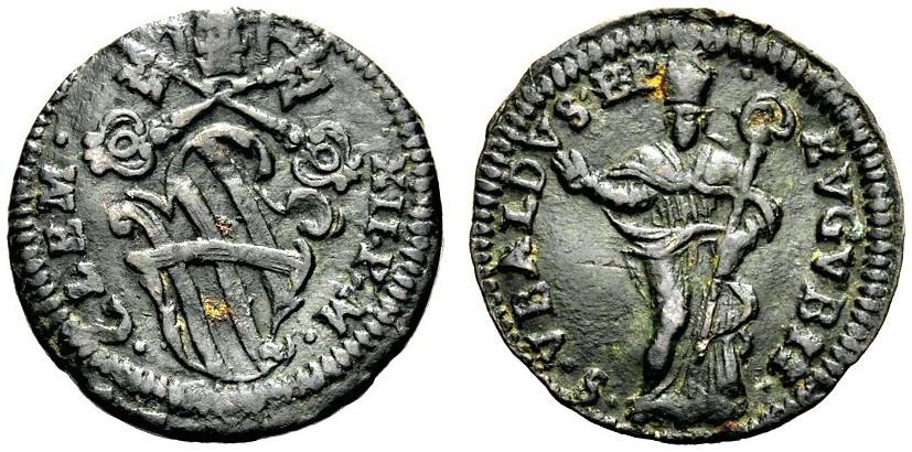 Clemente XII (1730-1740). Quattrino, rame. D/ . CLEM   . XX . P . M ., stemma con chiavi decussate e tiara. R/. S . VBALDVS . EP   .   EVGVBII ., sant'Ubaldo, nimbato e mitrato, in piedi e di fronte, benedicente con pastorale. Muntoni 255