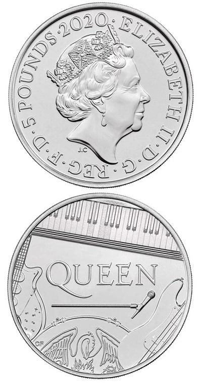 Strumenti musicali, il nome del gruppo e il microfono di Freddy Mercury sul rovescio delle monete dedicate ai Queen