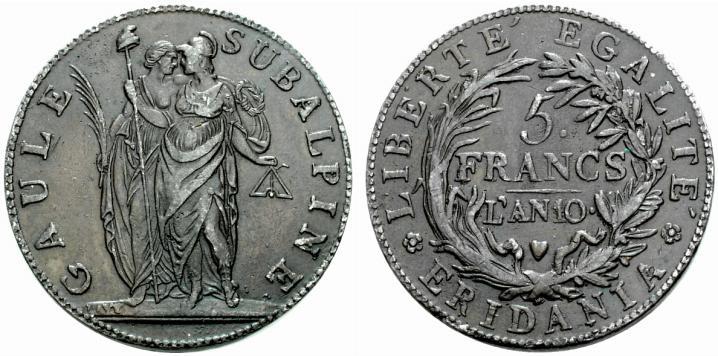 Repubblica Subalpina (1800-1802). 5 franchi An 9. Torino. Prova in piombo ramato (Varesi 30, 2005, lotto 948)