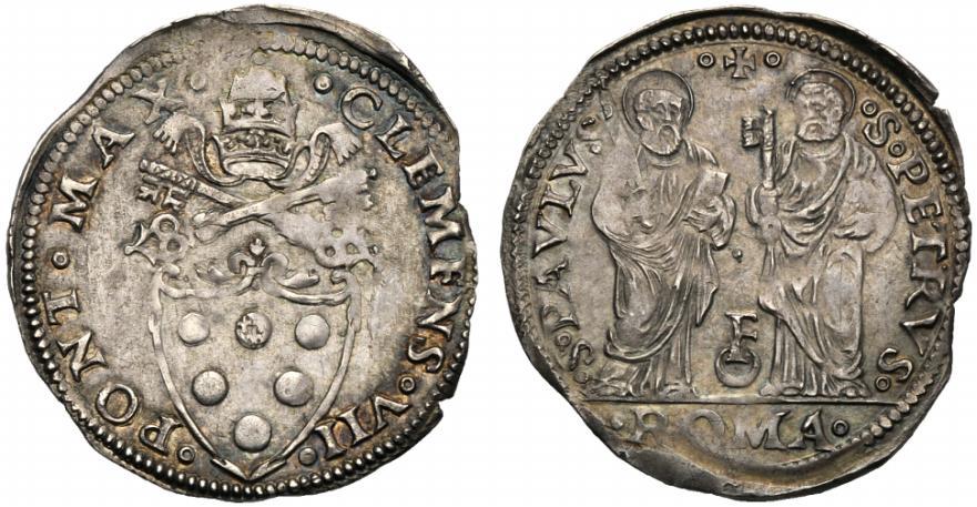 Giulio di Clemente VII per Roma con le effigi dei principi degli apostoli Pietro e Paolo abbinati allo stemma papale con chiavi e tiara