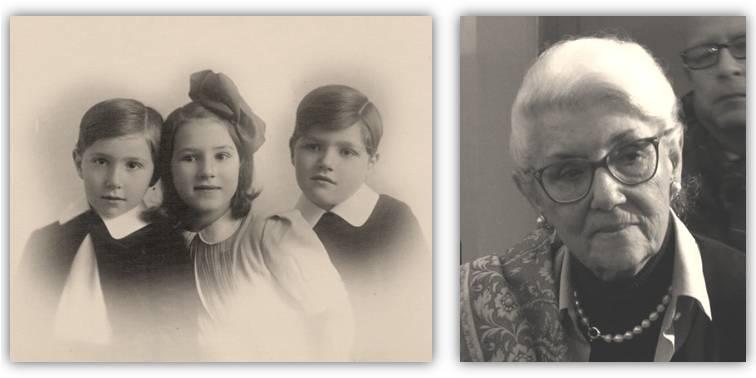 Lea Polgar in una foto d'infanzia con i fratelli e in un'immagine dello scorso anno scattata durane le celebrazioni a Udine in onore dei coniugi Mistruzzi