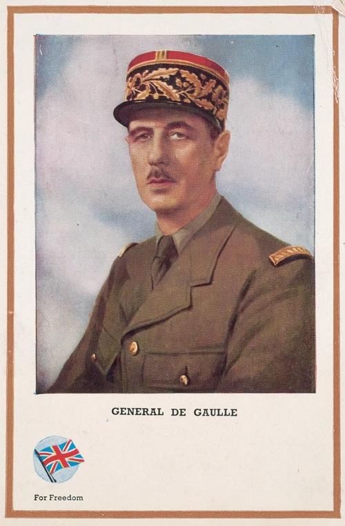 Charles De Gaulle in una cartolina inglese dedicata ai personaggi della Seconda guerra mondiale impegnati nella difesa della libertà
