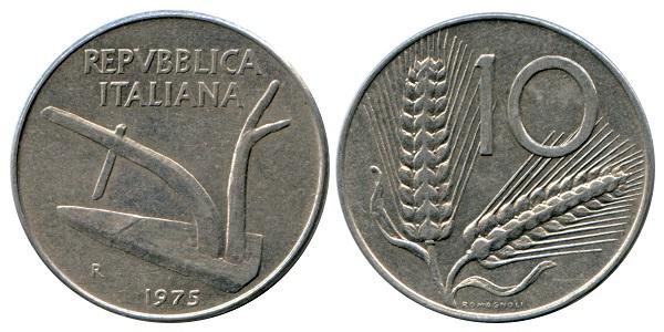 Esemplare integro delle 10 lire repubblicane Aratro/Spighe: una moneta intramontabile nella sua semplicità ed eleganza modellata da Giuseppe Romagnoli e coniata per la prima volta nel 1951