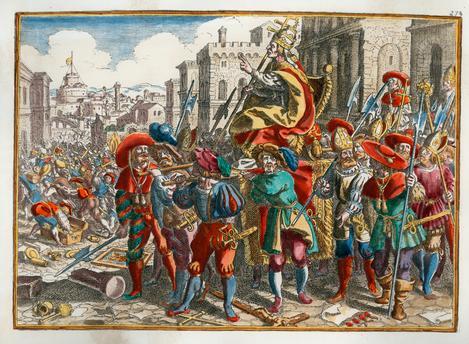 I lanzi a Roma sbeffeggiano le insegne e i luoghi sacri del Cattolicesimo in una stampa acquerellata a mano del XVIII secolo