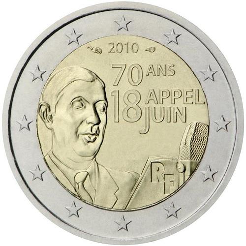 De Gaulle sui 2 euro commemorativi del 2010 dedicati al 70° dall'appello alla resistenza lanciato dal generale dai microfoni della BBC