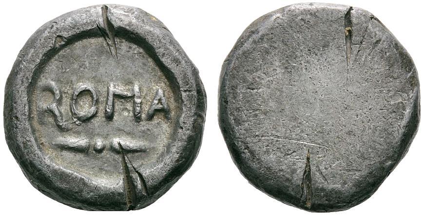Antico peso in piombo. Nel campo ROMA (Ranieri 3, 2011, lotto 1100)